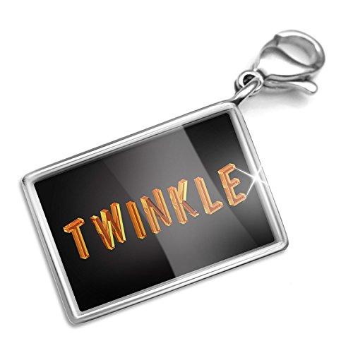 Twinkle Diamond Bracelet - Clip on Charm & Bracelet Set Twinkle Diamond Glass Lettering Lobster Clasp