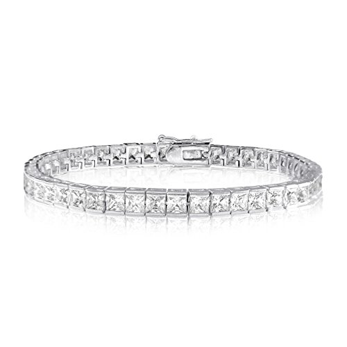 KEZEF Creations Square Princess Cut 3x3mm White Cubic Zirconia Tennis Bracelet in Rose, 14K Gold & Rhodium Plated Silver