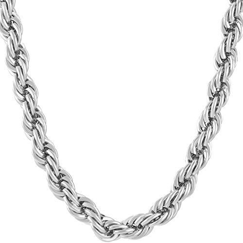 - Lifetime Jewelry Rope Chain 7MM, 24K Diamond Cut Fashion Jewelry Necklaces in Yellow or White Gold Over Semi Precious Metals, Hip Hop or Classic, Comes with Box or Pouch, 18 Inches