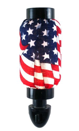 US American Flag Nightlight - Oriental Real Fabric Shade Asian Lantern Patriotic Style Night Light. UL Rated / Listed for Safety, Great Gift Idea