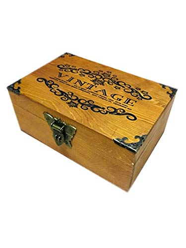 IDELIFE Vintage Wooden Box Jewelry Box Unfinished Wooden Box with Hinged Lid and Front Clasp
