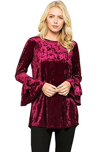 12 Ami Velvet Solid Long Bell Sleeve Tunic Top (S-XXXL) - Made in USA
