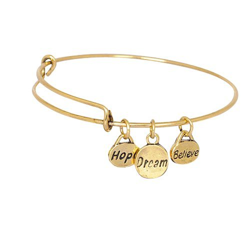 Expandable Bangle Bracelet Believe Charms