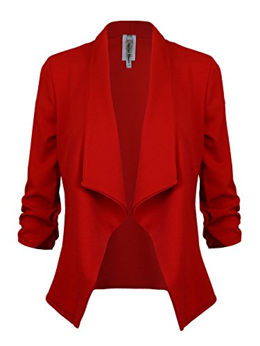 Instar Mode Women's Versatile Business Attire Blazers in Varies Styles (B12316 Red, Large) by Instar Mode