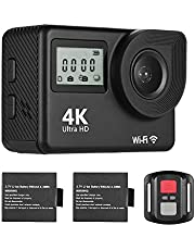 Mainstayae 4K Ultra HD WiFi Sports Action Camera 18MP 170° Wide Angle 2.0 Inch LCD Screen 30 Meters Waterproof with 2pcs Li-ion Batteries
