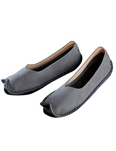 Zoulee de Zapatos de de Piel gris Verano Mujer p4rpBwq