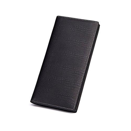 MONHINTY Men's Genuine Leather Multi-Card Long Bifold (Black Soft Italian Leather Billfold)