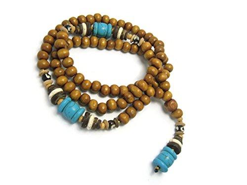 [APECTO 8mm Wood Beads & Turquoise Beads Tibetan Buddhist Prayer Meditation Necklace Handmade, NMN3] (J Valentine Unicorn Costume)