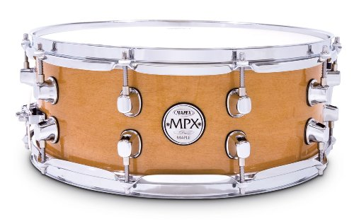 Chrome Snare - Mapex MPX14 inch x 5.5 inch all maple snare drum in natural finish with chrome hardware