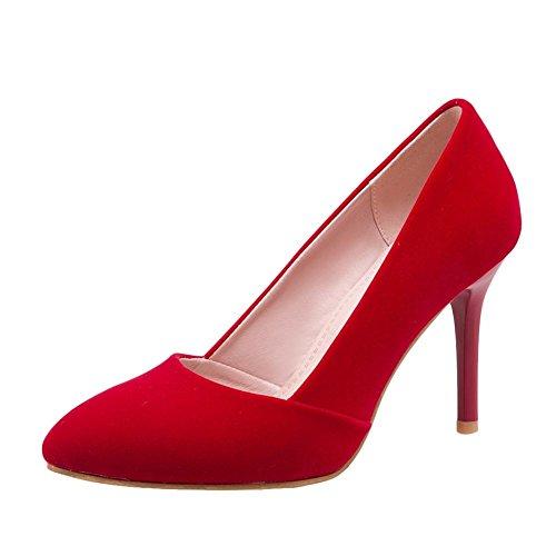 Carolbar Mujeres Party Punta Estrecha Sexy Fecha Tacones Altos Bombas Zapatos Rojo