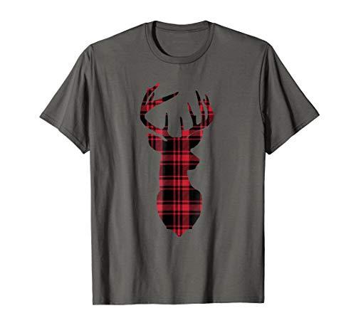 Buffalo Red Plaid Deer Shirt Christmas Gift Tee Santa TShirt -