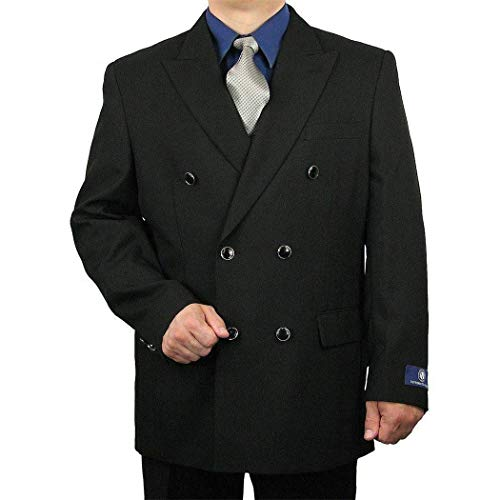 - Mens Black Double Breasted 6 Buttons Classic Fit Sport Jacket Blazer New(40L Regular)