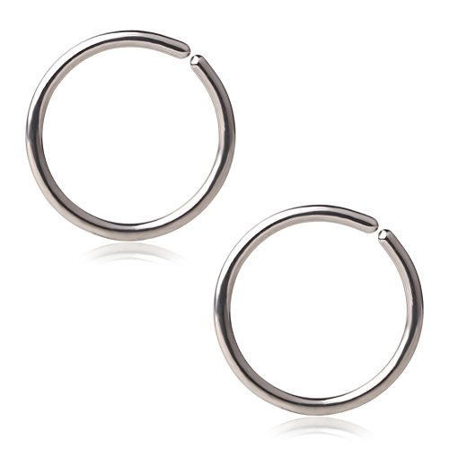 Ruifan 18G Round Ends Stainless Steel Clip on Closure Seamless Ring Fake Nose Lip Helix Cartilage Tragus Ear Hoop 8mm (Seamless Nose Ring)