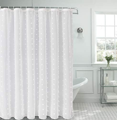 Dainty Home SBSCWH Cut Modern Snowball Poof 3-Dimensional Linen-Look Fabric Shower Curtain 70 inch x 72 inch, Textured Solid White