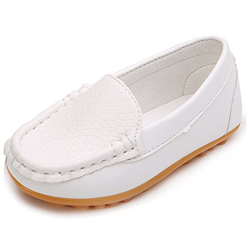 LONSOEN Toddler/Little Kid Boys Girls Soft Synthetic Leather Loafer Slip-On Boat-Dress Shoes/Sneakers,White,SHF103 CN27 Boys White Dress Shoes