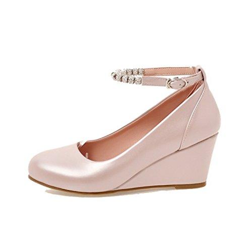 Allhqfashion Womens-talloni Solido Fibbia Pu Pompe A Punta Tonda-scarpe Rosa