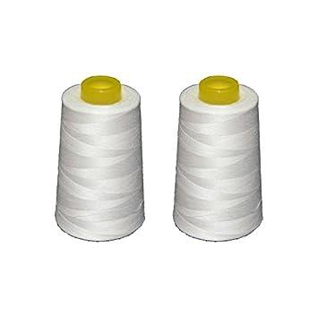 2 conos de hilo blancos de poliester, especiales para máquinas de coser y remalladoras: Amazon.es: Hogar