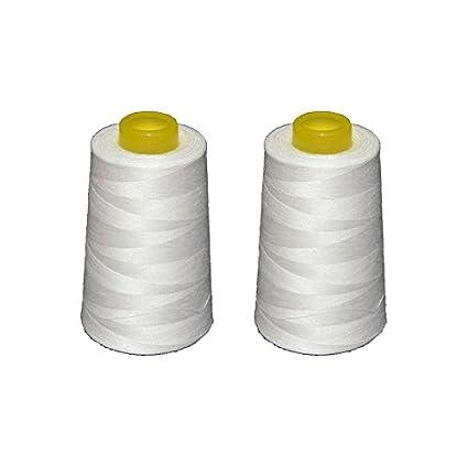 2 conos de hilo blancos de poliester, especiales para máquinas de coser y remalladoras