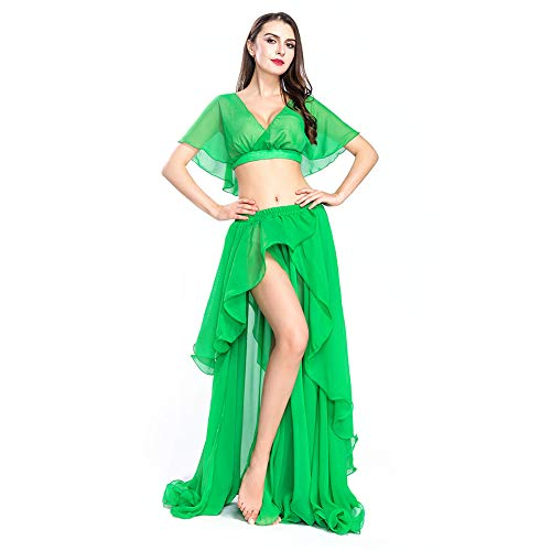 (ROYAL SMEELA Chiffon Belly Dance Costume Set for Women, One Size, Green Belly Dancing Skirt Dance Dress, 11 Colors)