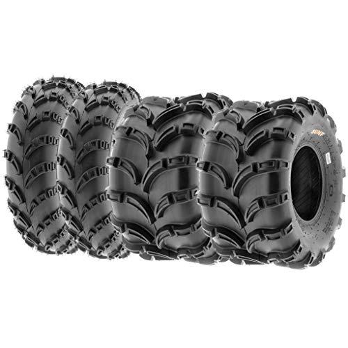 Set of 4 SunF A028 Off-Road ATV UTV Mud Tires 23x7-10 Front & 22x12-9 Rear, 6 PR, Tubeless (Tires 4 Wheeler)