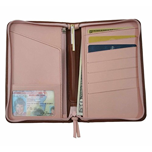 Passport Travel Wallet (Tan with Carnation Pink) (7.25
