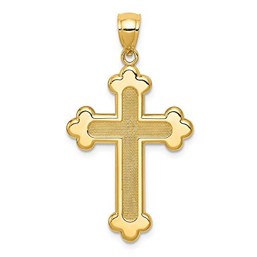14k Cross Pendant Budded (14k Yellow Gold Budded Cross Religious Pendant Charm Necklace Fleur De Lis Fine Jewelry Gifts For Women For Her)