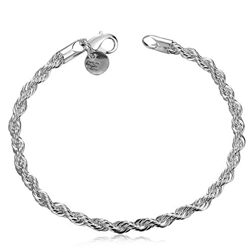 DUANMEINAD Italian Sterling Silver Three-Strand Braided Herringbone Chain Bracelet Twist Rope Chain Bracelets for Men Women Link Bracelet