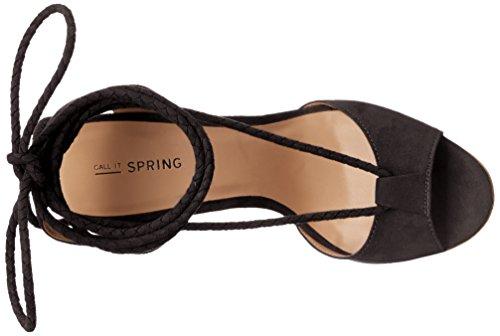 Chiamalo Primavera Donna Treawen Sandalo Con Zeppa Nero Nabuk