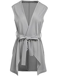 Women's Casual Lapel Open Front Sleeveless Vest Cardigan Jacket with Belt