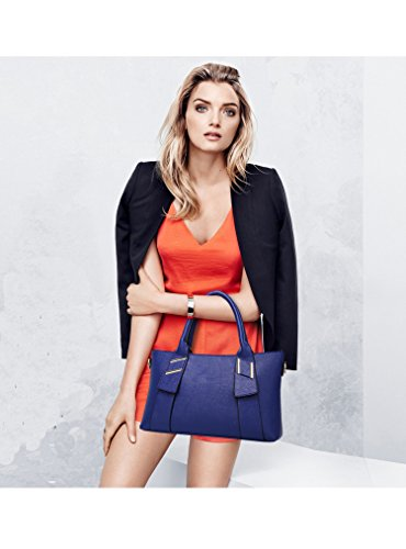 Stylish Blue Red Bag on Sunwel Top camel Tote Crossbody Satchel Handbag with Yellow 2 Fashion Black Leather Handle Pcs Set Camel Pu Sale TqttxZAw6