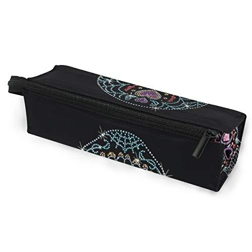 Rhinestone Studs Sugar Skull Glasses Case Travel Soft Sunglasses Ball Pen Bag Protective Box