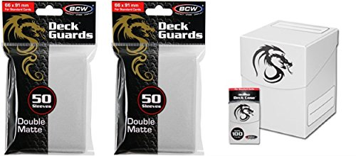 COMBO- BCW WHITE Large Deck Case plus 2x 50ct Pks (100) of WHITE Double Matte Deck Guard Sleeves for Collectable Gaming Cards like Magic The Gathering MTG, Pokemon, YU-GI-OH!, & More. Dragon Graphic on BOX.