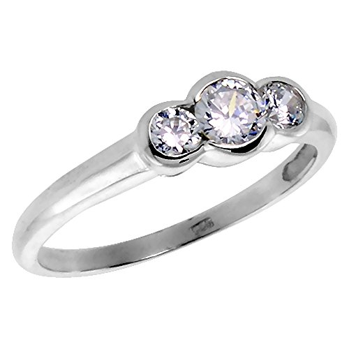 Sterling Silver Cubic Zirconia 3-Stone Ring Brilliant Cut 1/4 ct Center Half-Bezel Set, size (Half Bezel Set)