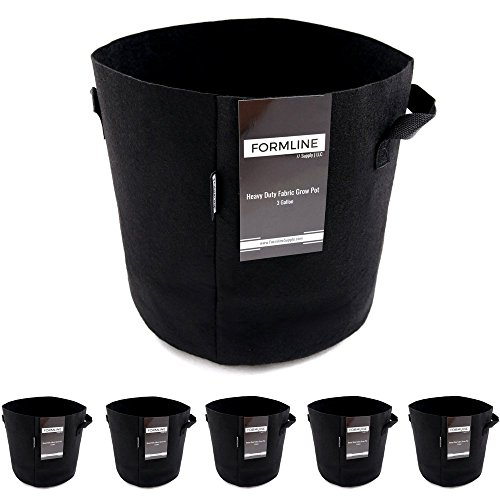 Formline Supply Premium 3 Gallon Grow Bags [Pack of 5]. Fabric Flower Pots are The Smart Way to Garden. Add These Heavy Duty Planters to Your Grow Tent Kit or - Hydroponic Kit
