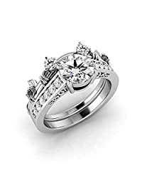 Women's 1.50 carat White Cubic Zirconiaa 925 Sterling Silver Plated Alloy Mickey Mouse Bridal Ring Set-Wedding Band Engagement Ring