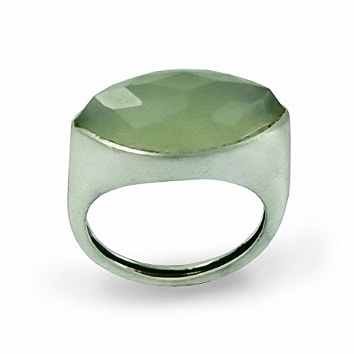 - Sterling silver gemstone marquise green jade stone ring - First impressions R1225-1
