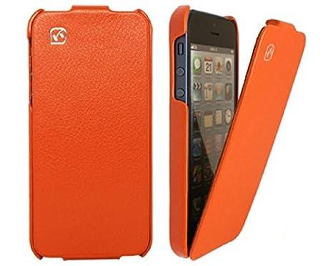 f2247c89a788 HOCO. Apple iPhone 5 5S Genuine Duke Genuine Leather Flip Case Cover  Vertical Case Orange  Amazon.co.uk  Electronics