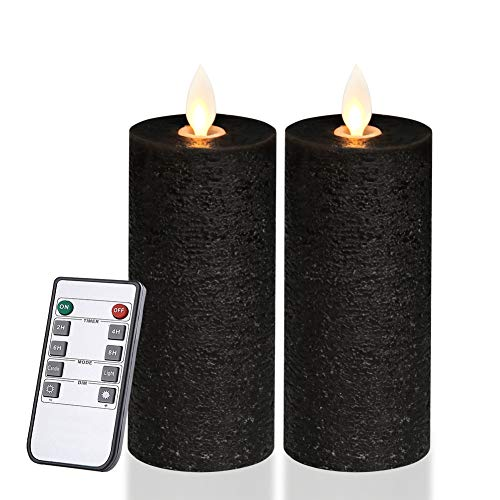 Only-us Black Flameless Candles Flickering LED Candles Battery Operated with Remote Control Timers for Table Centrepiece Fireplace Halloween Pillar Candles 5 inch Flat top -