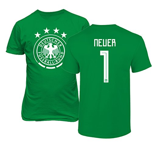 5fe3947fdf3 Tcamp Germany 2018 National Soccer #1 Manuel NEUER World Championship Boys  Girls Youth T-Shirt (Green, Youth X-Large)