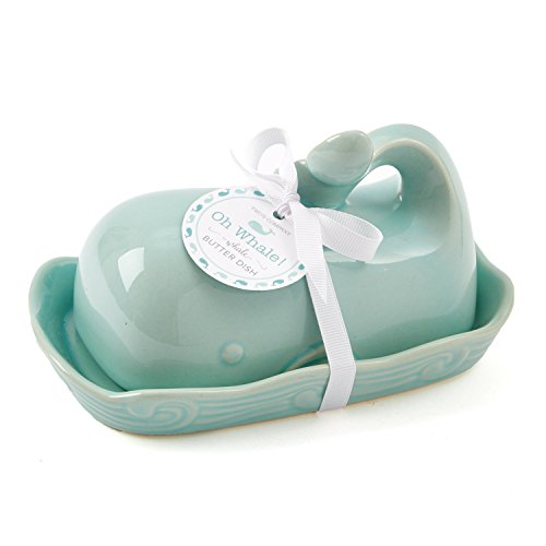 Two's Company 51197 Oh Whale Ceramic Butter Dish Seafoam Green (Large Image)