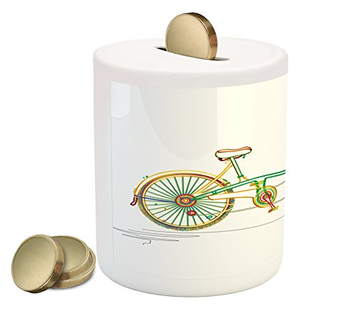 Ambesonne Bicycle Piggy Bank by, Colorful Tandem Bicycle Design on White Background Pattern Clipart Style Print, Printed Ceramic Coin Bank Money Box for Cash Saving, Multicolor Bicycle Clipart