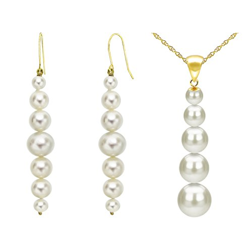 14k-Yellow-Gold-Graduated-Freshwater-Cultured-Pearl-Necklace-And-Earrings-Set
