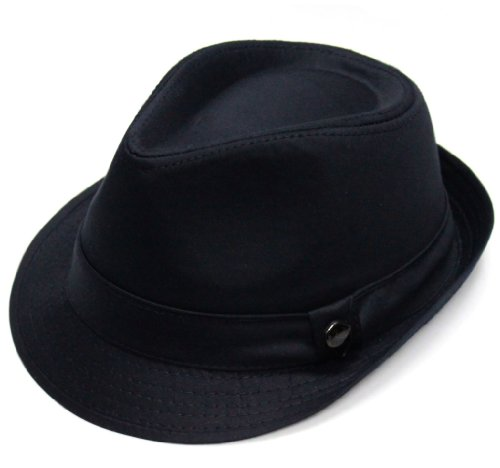 City Hunter Pmt110 Cotton Solid Trilby Fedora-Black-L/xl Size