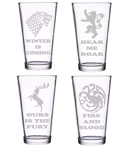 (Brindle Southern GoT Gift Set of 4 Pints Premium Etched Glasses: Stark, Baratheon, Lannister, Targaryen House Sigils and House Words)