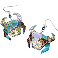Handcrafted Origami Paper Crab Earrings,Purple Lavender Aqua Blue, Zodiac Cancer Birthday Lucky Gift
