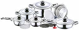 Concord Cookware Hoffmayer SAS19 19-Piece Induction Compatible Surgical Stainless Steel 7-Ply Cookware Set