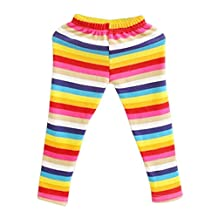 SODIAL(R) Baby Girls Winter Fleece Warm Rainbow Leggings Child Pants Size 130(For Age 6)