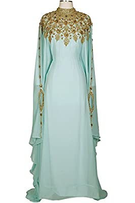 Covered Bliss Athena Kaftan For Women Premium Design Elegant Ethnic Couture Long Sleeve Maxi Dress Plus Gown Wedding,Formal, Lounge Wear -With Belt- Chiffon Top-One Size Fits All