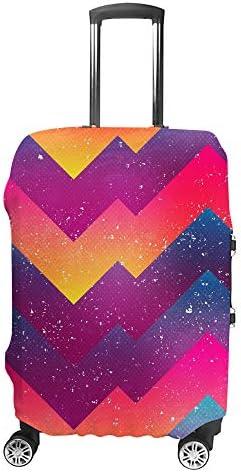 スーツケースカバー トラベルケース 荷物カバー 弾性素材 傷を防ぐ ほこりや汚れを防ぐ 個性 出張 男性と女性明るい幾何学模様
