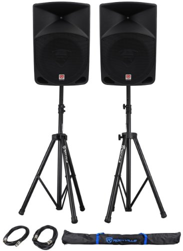 Package: (2) Rockville RPG15 2,000 Watt 2-Way DJ/PA Powered Speakers With a 15